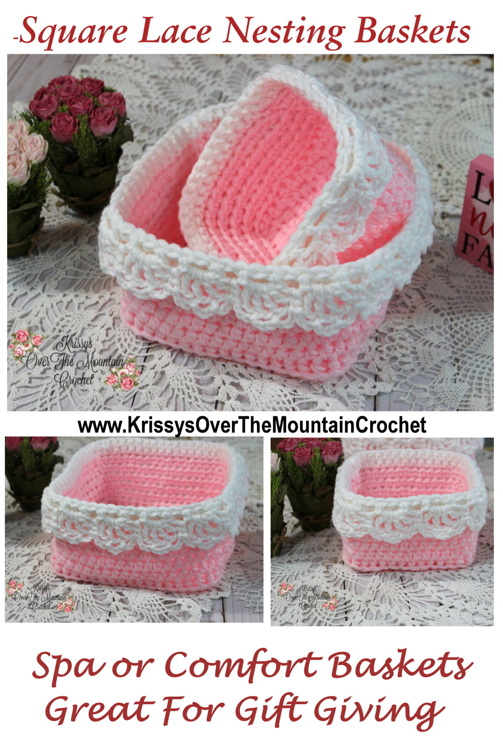 Lace nesting baskets can be quickly crocheted and ready to pack with items for special gift giving.