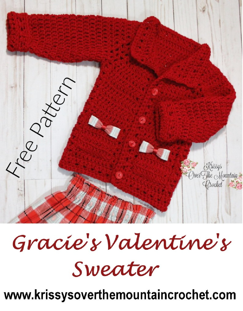Gracie's Valentine's sweater is so pretty and it's so fast to make. You can crochet this in a quick crochet minute.
