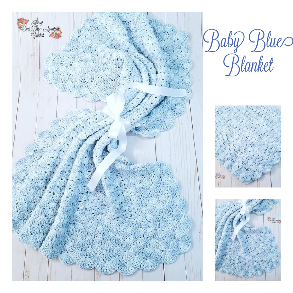 Crochet this blue cotton baby blanket in a short amount of time.