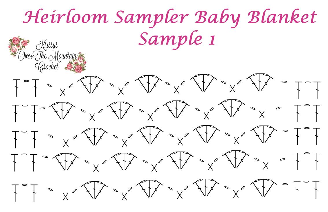 Complete chart of Sample 1, of the Heirloom Shells Sampler Baby Blanket