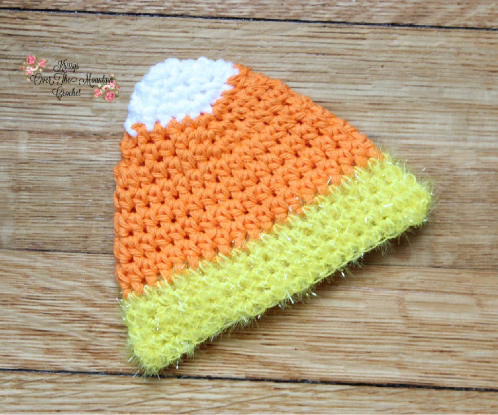 Crochet this candy corn dishcloth with a scrubber bottom!