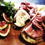 Wagyu beef on sourdough with fresh fig and watercress salad