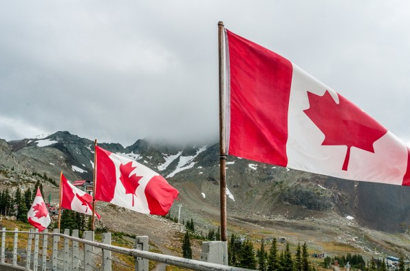 Canadian flags on Whistler mountain