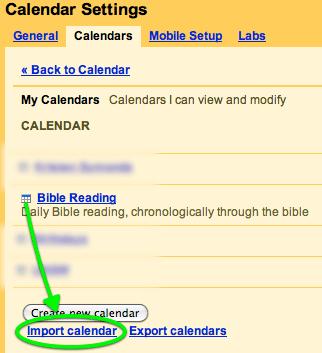Import to google calendar
