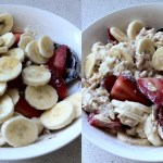 bowl or bircher muesli with extra fruit on top and stirred in