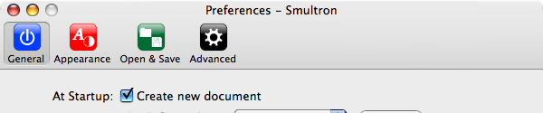 Smultron Preferences Window