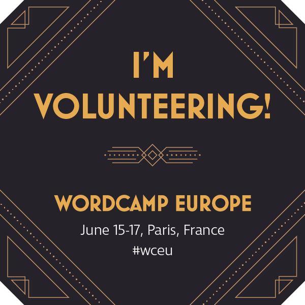 I'm volunteering at WordCamp Europe 2017