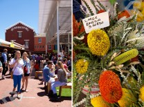 The Old Biscuit Mill is vibrant during the Neighbourgoods Market (left). Come for the food and people watching. Leave with a bouquet of banksia (right) and a hip new outfit.