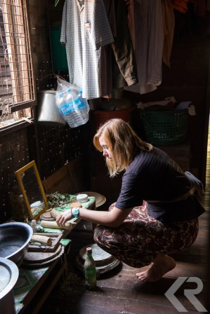 American student visiting a Burmese home.