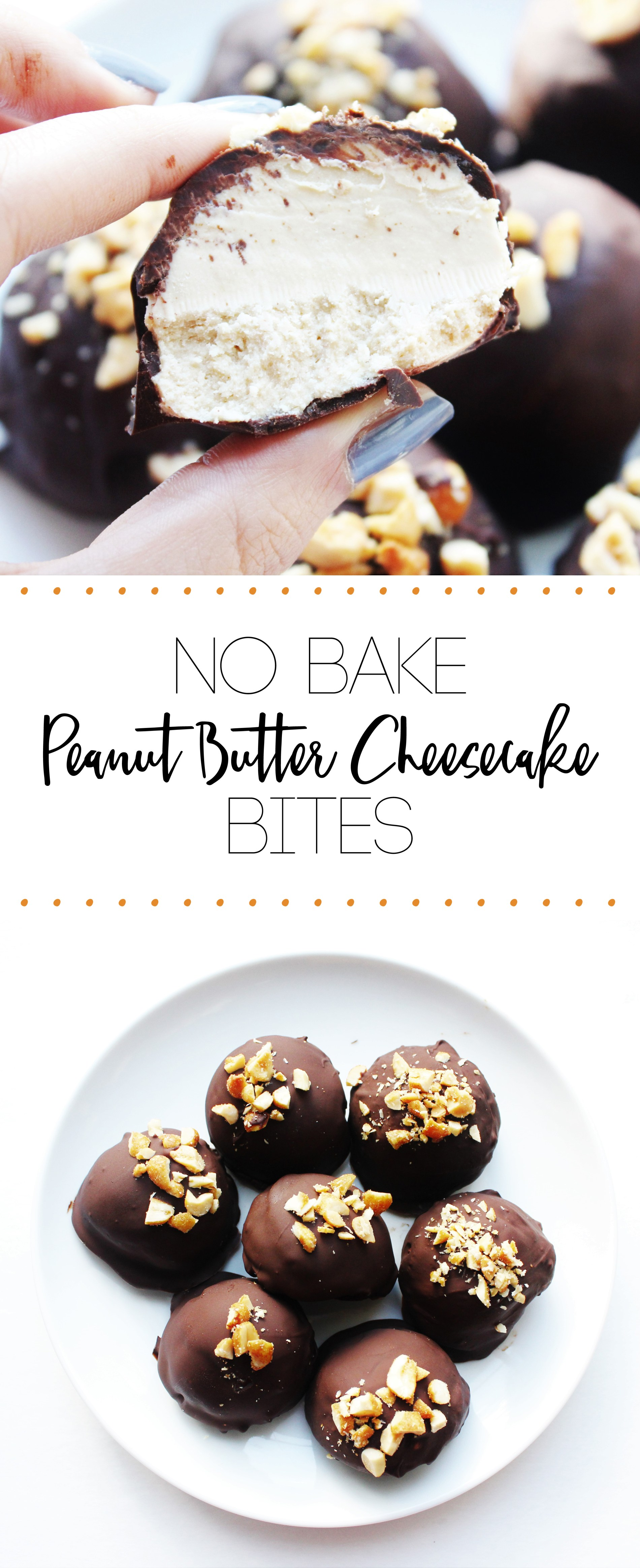 Peanut Butter Cheesecake Bites- No bake, 5 ingredients dessert, perfect chocolaty and peanut butter treat.