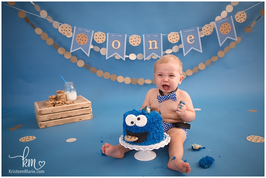 Burke Is One Cookie Monster Cake Smash Session