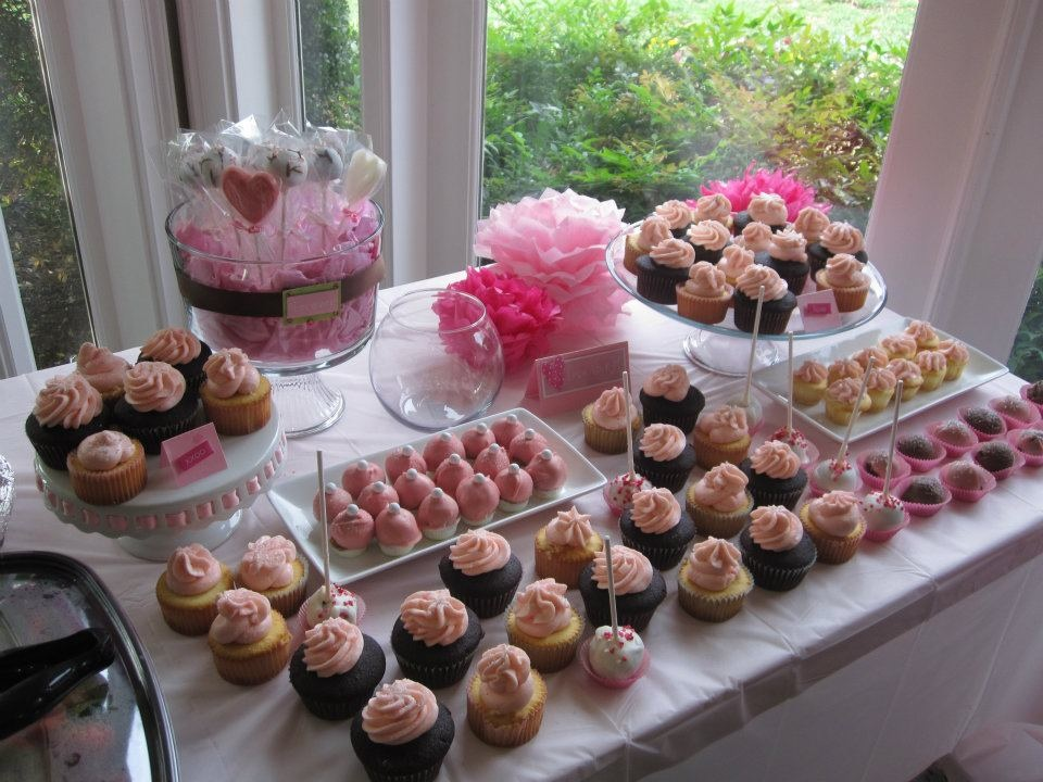 All Pink Bridal Shower Dessert Table Tin Cakes