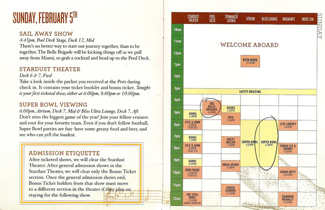 Cayamo 2012: Schedule for Sunday February 5th