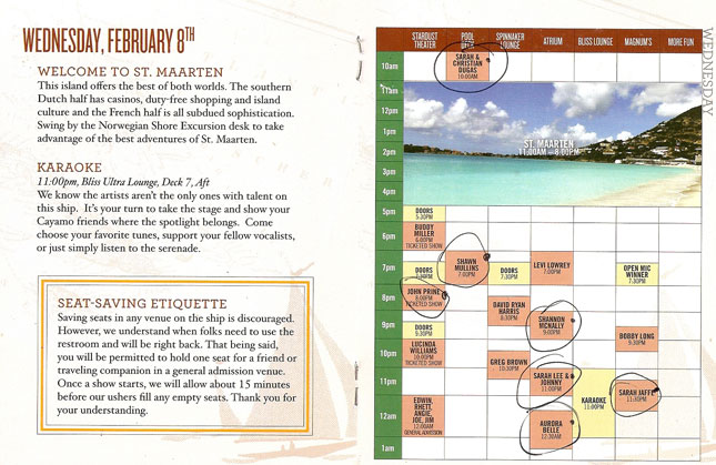 Cayamo 2012: Schedule for Wednesday, February 8th