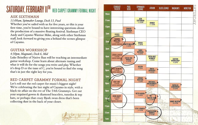 Cayamo 2012: Schedule for Saturday, February 10th