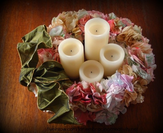 Coffee Filter Wreath Centerpiece