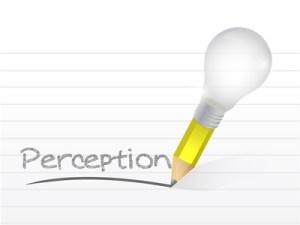 perception written with a light bulb idea pencil