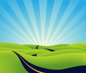 Illustration of a cartoon long road going towards horizon, symbolizing lenght, time,  eternity or spiritual purpose