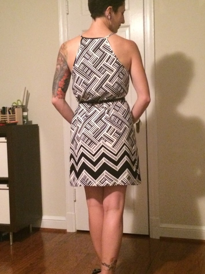Sutton Mixed Chevron Print Dress (Back)