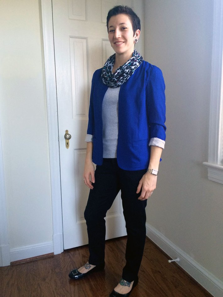 Romaine Split Back Blazer (paired with my own scarf)