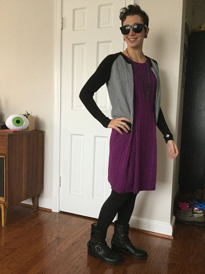 41Hawthorn Jace Abstract Chevron Print Dress (paired with cardigan)