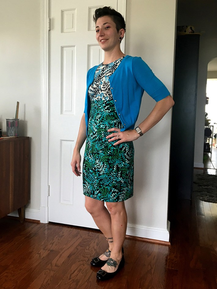 Maggy London Valencia Knit Dress (with blue cardigan)