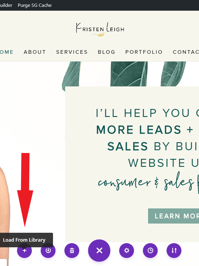 Kristen Leigh | Web Design Studio | How to Quickly Build a Divi Website | Load From Library
