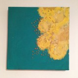 "Turquoise and yellow painting with ochre stitching roughly 10"" square - $15"