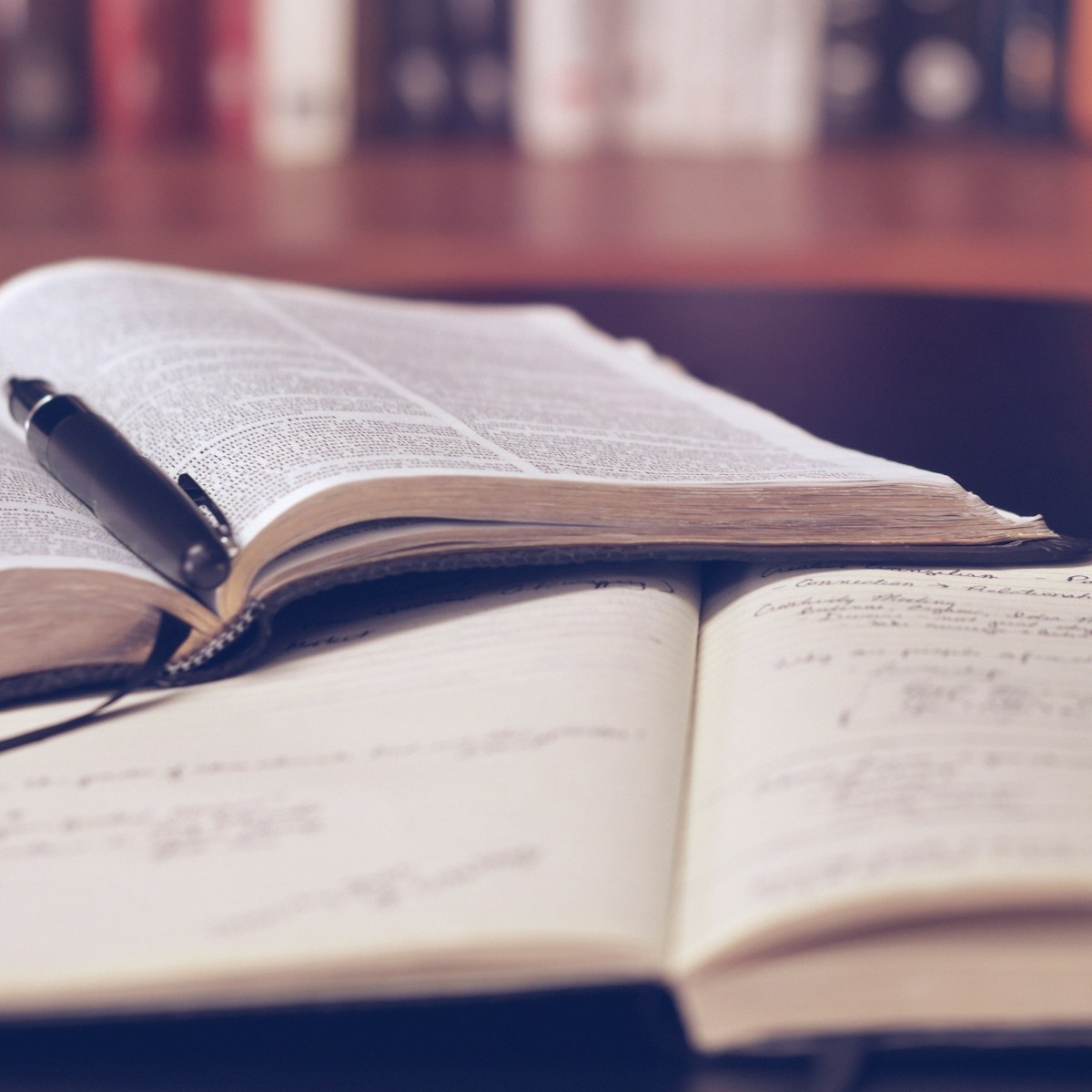 A close-up shot of an open reference book and a marked-up open notebook. A pen sits in the crease between the pages of the reference book.