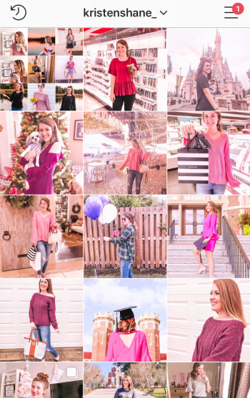 Grow Your Instagram in 2019 Kristen Shane - pink feed