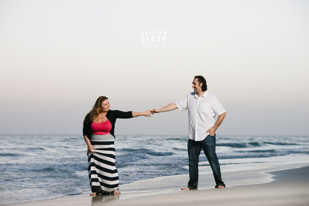 Sunset Treasure Island Family Beach Portrait Photos in Navy, White and Coral By Kristen Sloan Photography