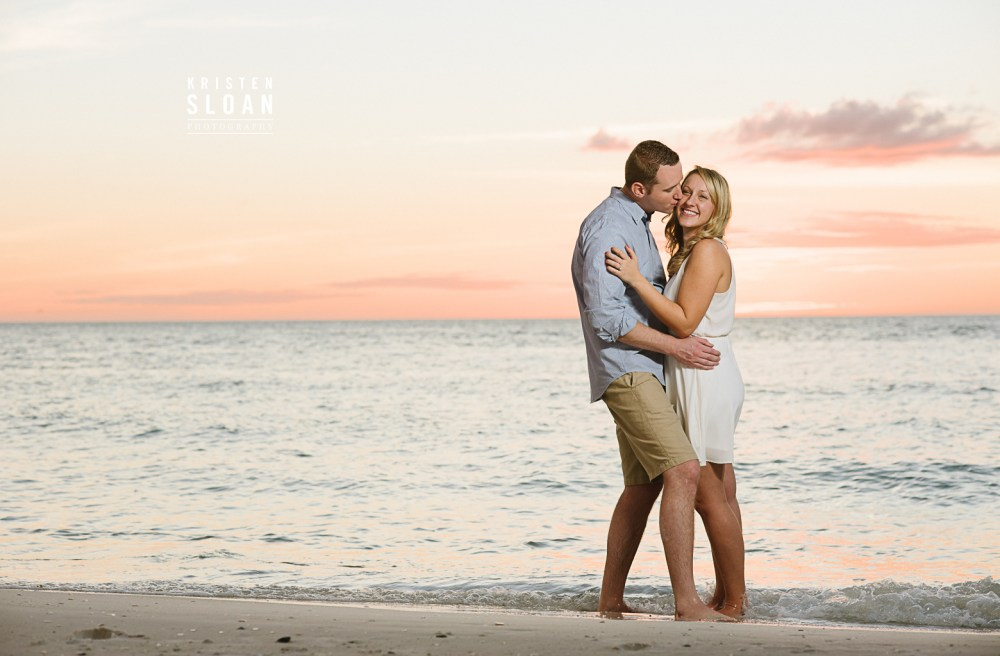Coquina Beach Anna Maria Island Florida Couples Engagement Portraits at Sunset