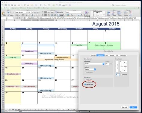 Calendar merge cells