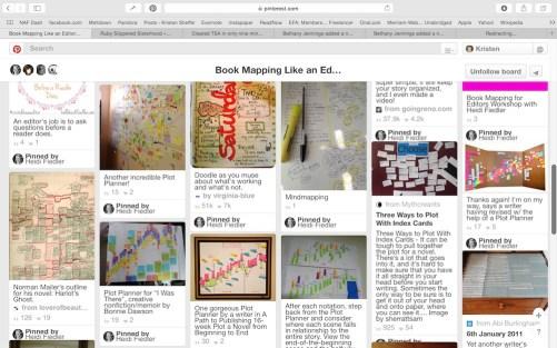 Screenshot of just a part of Heidi Fiedler's Book Mapping Pinterest board.