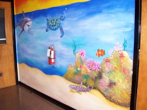 ocean mural painting undersea art shark sea turtle finding nemo