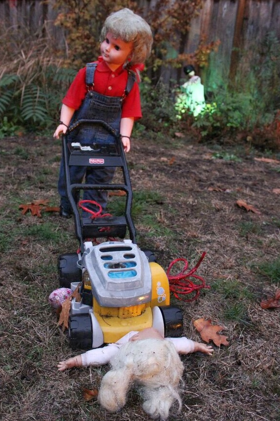 Doll asylum lawn mower accident