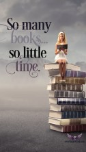 So many books, so little time, image for iPhone of girl on a stack of books
