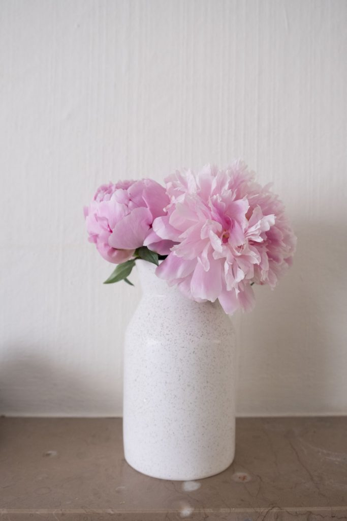 Peonies on the fireplace