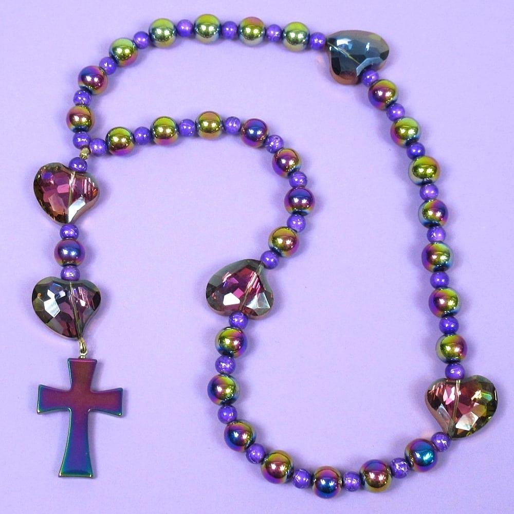 Rainbow Purple Hearts Prayer Beads