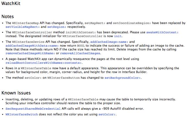 watchkit iOS 8.4 beta 4 release notes