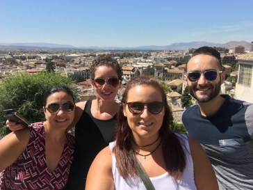 Isa, Renee, me and Alex with Granada as our backdrop. Selfie stick for the win!