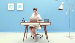 commercial actress in Lenovo ad with blue background