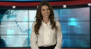 Corporate multilingual news presenter in white shirt