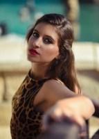 Kristina models leopard dress