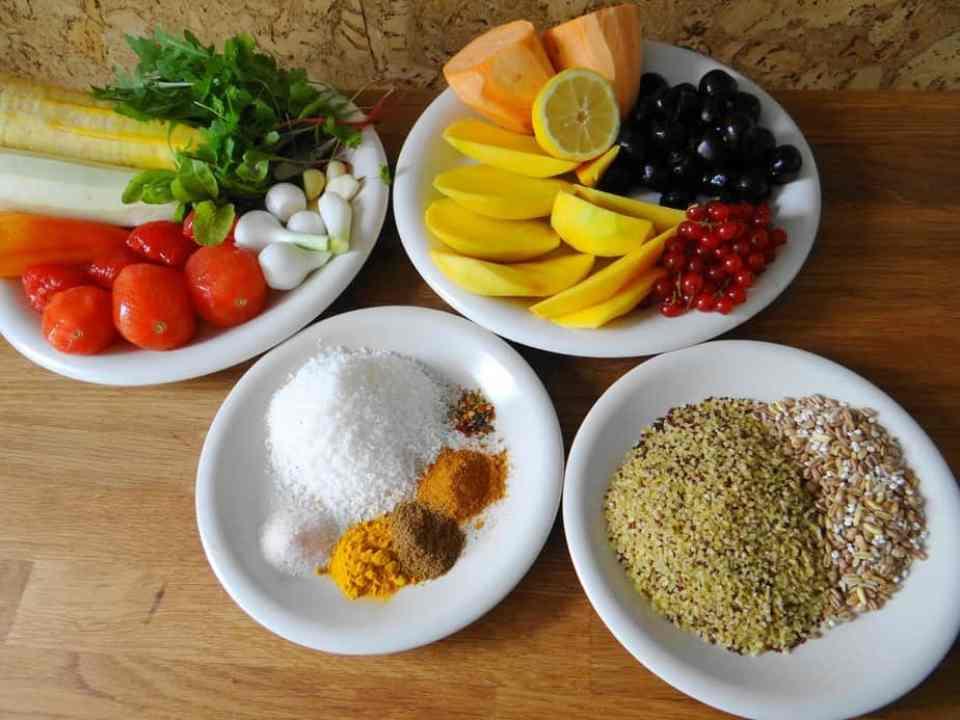 Sommercurry-1, Quinoa, Bulgurr, Süßkartoffeln, Gewürze, Curcuma