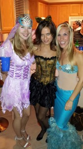 Me as a mermaid, partying with friends dressed as other mythical creatures, last Halloween.