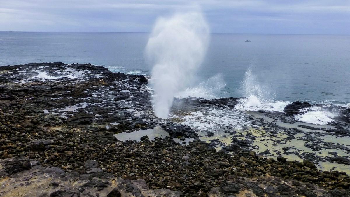 3 week Hawaii itinerary. Spouting Blowhole, Kauai