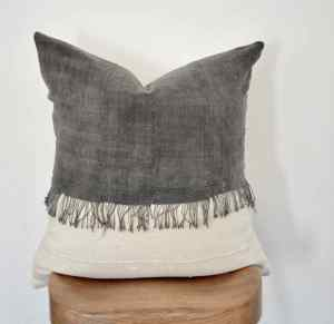 vintage gray and white mudcloth pillow cover