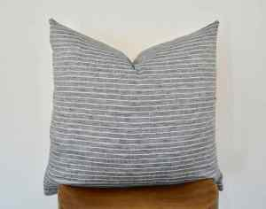 gray linen pillow cover