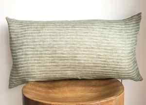 green striped linen lumbar